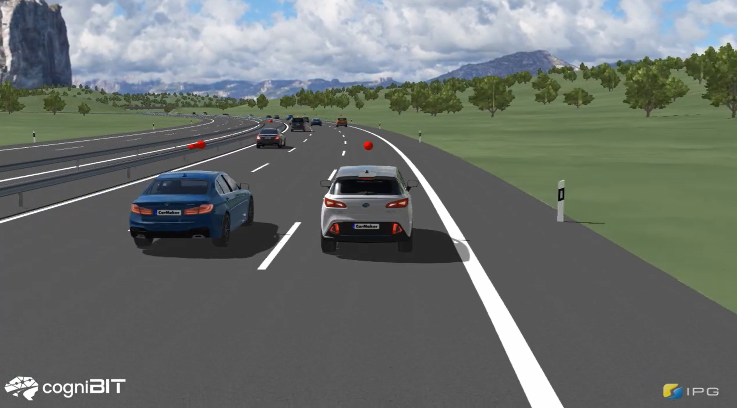 Risky behavior in traffic simulated by cogniBIT